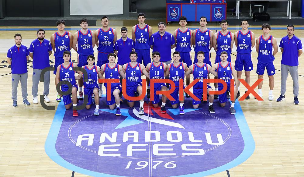 Anadolu Efes's players poses during the 2020-2021 Garanti BBVA BGL Media Day at the Anadolu Efes Sports Hall on February 02, 2021 in İstanbul, Turkey. Photo by Aykut AKICI/TURKPIX