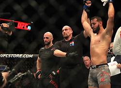 Volkan Oezdemir (left) reacts after losing his Light Heavyweight bout during UFC Fight Night 147 at The O2 Arena, London.