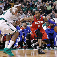 14 May 2012: Boston Celtics small forward Paul Pierce (34) defends on Philadelphia Sixers small forward Andre Iguodala (9) during the Philadelphia Sixers 82-81 victory over the Boston Celtics, in Game 2 of the Eastern Conference semifinals playoff series, at the TD Banknorth Garden, Boston, Massachusetts, USA.