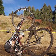 Lester Perry falls from his bike during the thrills and spills of the New Zealand Cyclocross Championships sponsored by AJ Hackett Bungy, held at Jardine Park,  Queenstown, as part of the Queenstown WInter Festival. The men's event was won by Dan Warren from Hastings while Anja McDonald from Dunedin won the women's event. Queenstown, New Zealand, 2nd July 2011