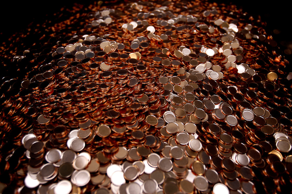 "PMM290109#Portuguese Mint ""Casa da Moeda Lisbon"" - preparing the coins for the final minting process."