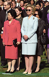 Madame Lao An, left, and U.S. first lady Hillary Rodham Clinton watch the Official Arrival Ceremony honoring Premier Zhu Rongji of the People's Republic of China at the White House in Washington, D.C. on April 8, 1999. Photo by Ron Sachs/CNP/ABACAPRESS.COM