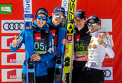 Retired Robert Kranjec of Slovenia (R) celebrates with third placed team of Slovenia: Timi Zajc (SLO), Anze Semenic (SLO) and Peter Prevc (SLO) (Domen Prevc (SLO) missing) during trophy ceremony after the Ski Flying Hill Team Competition at Day 3 of FIS Ski Jumping World Cup Final 2019, on March 23, 2019 in Planica, Slovenia. Photo by Vid Ponikvar / Sportida