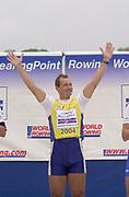 Poznan, POLAND.   2004 FISA World Cup, Malta Lake Course.  <br /> <br /> EAST 1X Jueri Jaanson.<br /> 09.05.2004<br /> <br /> [Mandatory Credit:Peter SPURRIER/Intersport Images]