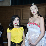 Kisin-K and Paris Summer Allen is a catwalk model and heavy pregnant modelling at The British luxury Womenswear designer, Chanel Joan Elkayam, showcases her Autumn - Winter 2020 show ahead of London Fashion Week on 13 February 2020 at Cecil Sharp House, London, UK.