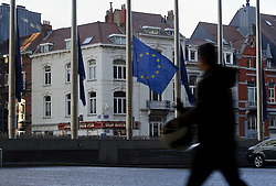 A pedestrians passes by the European Commission headquarters, in Brussels, Belgium, on Monday, Dec. 19, 2011. (Photo © Jock Fistick).
