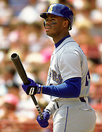 MILWAUKEE - 1990:  Ken Griffey Jr. of the Seattle Mariners looks on during an MLB game against the Milwaukee Brewers at County Stadium in Milwaukee, Wisconsin during the 1990 season. (Photo by Ron Vesely)   Subject: Ken Griffey Jr.