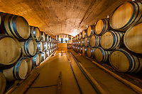 Wine barrel cellar, Delaire Graff Estate, Helshoogte Pass, Cape Winelands near Stellenbosch, South Africa.