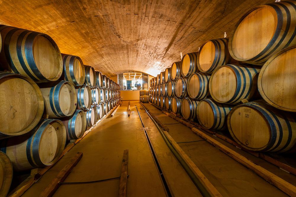Wine barrel cellar, Delaire Graff Estate, Helshoogte Pass, Cape Winelands near Stellenbosch, South Africa.
