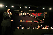 """Dr, Ben Chavis with panelists, T.I. and Russell Simmons at The Hip Hop Research and Education Fund(HREF), PowerPAC and the HipHop Summit Action Network (HSAN) present the national """"HipHop Team Vote: Turn Up the Vote"""" campaign event held at Temple University's Liacouras Center Arena on April 20, 2008 ..The HipHop Team Voe: Turn up the Vote brings together hiphop stars and community activists to send a strong, clear message to 18-35 year olds about the importance of voting in the Pennsylvania primary and national presidential election."""