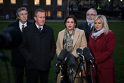 © Licensed to London News Pictures. 21/02/2018. London, UK. Sinn Féin President Mary Lou McDonald (C), Sinn Féin Vice President Michelle O'Neill MLA (R) and other Sinn Fein representatives give a statement to the press after meeting with Prime Minister Theresa May. Photo credit: Rob Pinney/LNP