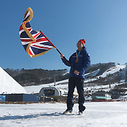 Great Britain's 2018 Winter Olympic snowboard Big Air flag bearer and bronze medalist, Billy Morgan on 25th February 2018 at Alpensia Resort in South Korea (photo by Sam Mellish / In Pictures via Getty