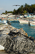 Local Fishing Boats and Net<br /> Isla Mujeres<br /> MEXICO