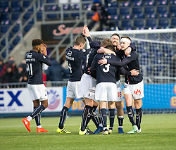 Falkirk players at the end. Falkirk 3 v 0 Dundee United, Scottish Championship game played 11/2/2017 at The Falkirk Stadium.