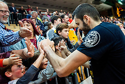 Marko Jagodic Kuridza of Sixt Primorska celebrates with fans after winning during basketball match between KK Sixt Primorska and KK Hopsi Polzela in final of Spar Cup 2018/19, on February 17, 2019 in Arena Bonifika, Koper / Capodistria, Slovenia. KK Sixt Primorska became Slovenian Cup Champion 2019. Photo by Vid Ponikvar / Sportida