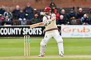 James Hildreth of Somerset hits the ball to the boundary for four runs during the third day of the Specsavers County Champ Div 1 match between Somerset County Cricket Club and Yorkshire County Cricket Club at the Cooper Associates County Ground, Taunton, United Kingdom on 29 April 2018. Picture by Graham Hunt.