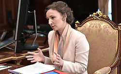 May 31, 2017 - Moscow, Russia - May 31, 2017. - Russia, Moscow. - Children's Rights Commissioner Anna Kuznetsova at a meeting with Russian President Vladimir Putin. (Credit Image: © Russian Look via ZUMA Wire)