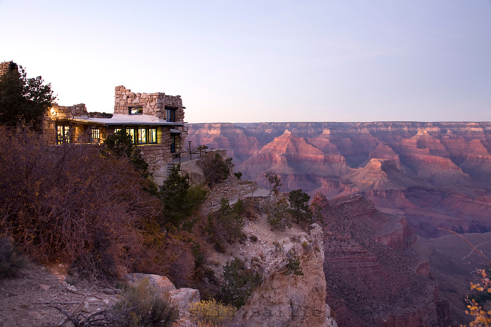 Scenic image of the historical Kolb Studio and the Grand Canyon at sunset taken from the South Rim of the Grand Canyon.