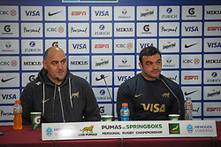August 25, 2018. Malvinas Argentinas Stadium, Mendoza, Argentina.<br /> Los Pumas Head Coach MARIO LEDESMA and team captain AGUSTIN CREEVY during press conference after the match.