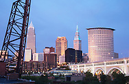 Cleveland Skyline from the flats at dusk