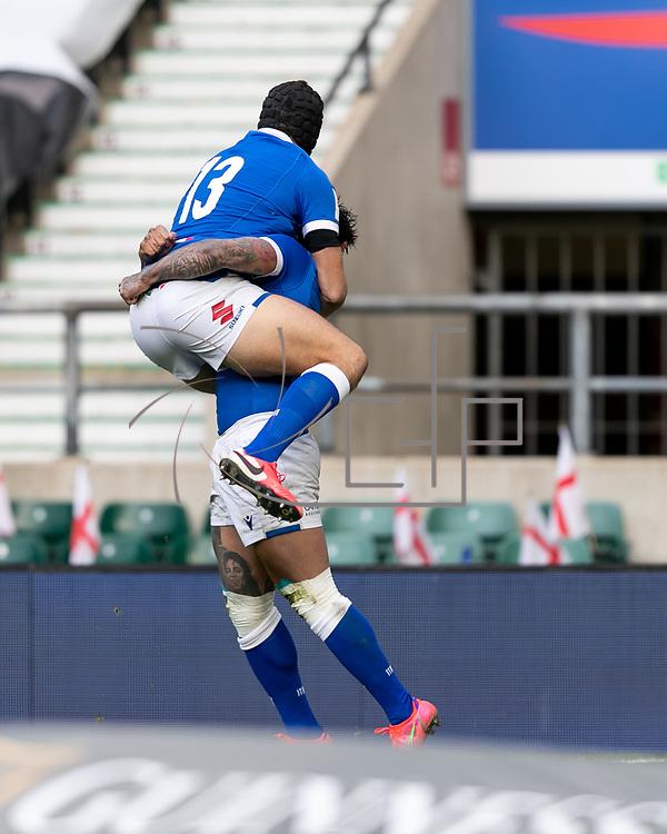 Londra 13/02/2021, Twickenham Stadium<br /> Guinness Six Nations 2021<br /> Inghilterra vs Italia <br /> Monty Ioane festeggia la meta con Carlo Canna