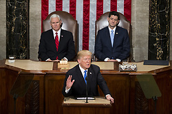 January 30, 2018 - Washington, District Of Columbia, USA - United States President DONALD J. TRUMP delivers the State Of The Union Address to a joint session of Congress at the United States Capitol. (Credit Image: © Alex Edelman via ZUMA Wire)