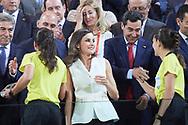 Queen Letizia of Spain delivery the trophy to referees after winning Spanish Queen's Cup (Copa de la Reina) final match Real Sociedad vs At. de Madrid at Los Nuevos Carmenes Stadium on May 12, 2019 in Granada, Spain