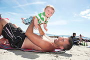 18/06/2014 Alex Kelly Mervin from Roscommon living in Galway enjoying some father and son bonding at the beach in Salthill Galway. Photo:Andrew Downes