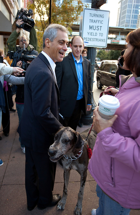 Former White House Chief of Staff Rahm Emanuel meets potential voters at an El train stop as he prepares to run for Mayor of Chicago Monday morning October 4, 2010 in Chicago.