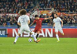 October 31, 2017 - Rome, Italy - Diego Perotti kicks goal 3-0 during the Champions League football match A.S. Roma vs Chelsea Football Club at the Olympic Stadium in Rome, on october 31, 2017. (Credit Image: © Silvia Lore/NurPhoto via ZUMA Press)