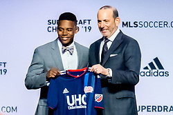 January 11, 2019 - Chicago, IL, U.S. - CHICAGO, IL - JANUARY 11: DeJuan Jones is selected as the number eleven overall pick to the New England Revolution in the first round of the MLS SuperDraft on January 11, 2019, at McCormick Place in Chicago, IL. (Photo by Patrick Gorski/Icon Sportswire) (Credit Image: © Patrick Gorski/Icon SMI via ZUMA Press)