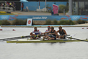 Eton Dorney, Windsor, Great Britain,<br /> <br /> 2012 London Olympic Regatta, Dorney Lake. Eton Rowing Centre, Berkshire.  Dorney Lake.   <br /> <br /> Final, Men's Pair GBR M2- Bow George NASH and Will SATCH and NZL M2-, Bow Eric MURRAY and Hamish BOND<br /> <br />  11:57:00  {DOW]  {DATE}    [Mandatory Credit: Peter Spurrier/Intersport Images]