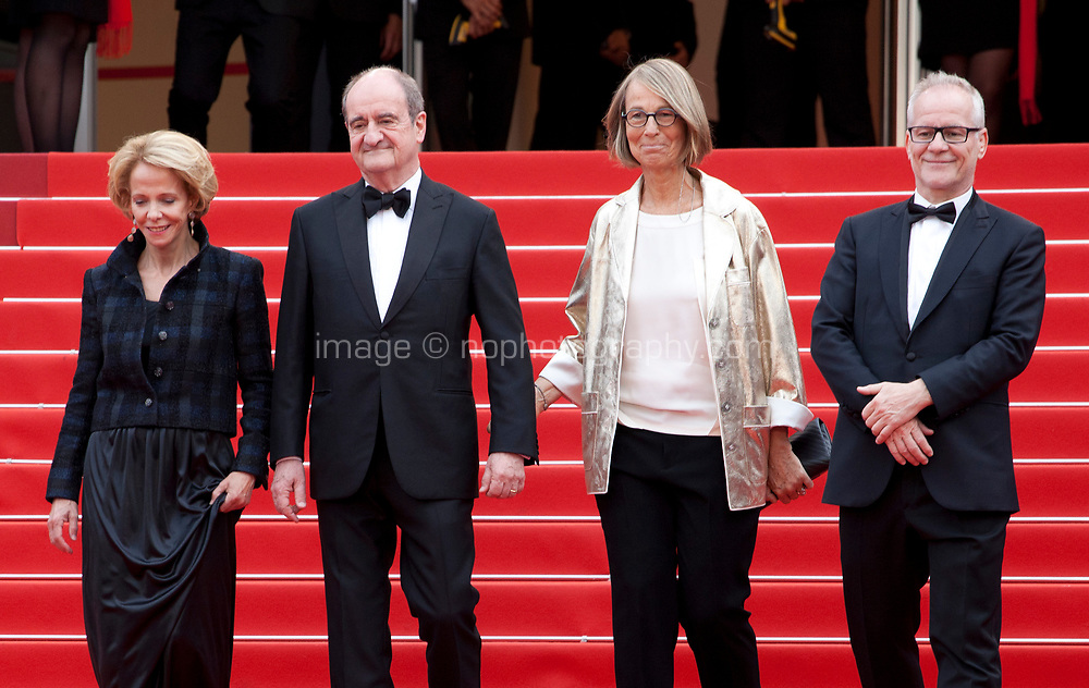 Frederique Bredin, President of the festival Pierre Lescure, French minister of Culture Francoise Nyssen and Director of the Cannes Film Festival Thierry Fremaux at L'amant Double gala screening at the 70th Cannes Film Festival Friday 26th May 2017, Cannes, France. Photo credit: Doreen Kennedy