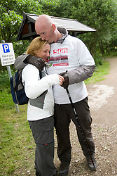 John with his wife Sarah at the end..The John Hartson Foudation walk up Ben Nevis..Pic ©2010 Michael Schofield. All Rights Reserved.