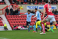 Coventry City defender Romain Vincelot scores the opening goal during the Sky Bet League 1 match between Swindon Town and Coventry City at the County Ground, Swindon, England on 24 October 2015. Photo by Jemma Phillips.