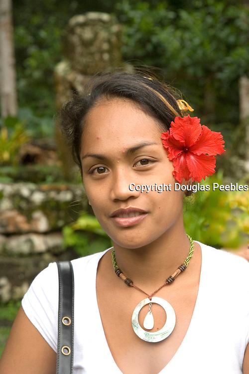 Woamn at Meae Iipona, Puamau, Hiva Oa, Marquesas Islands, French Polynesia, (Editorial use only)<br />