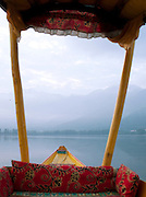 Front of a shikara, a local wooden boat, on Lake Dal, Kashmir, India