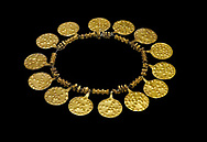 Bronze Age Hattian gold necklace from Grave E,  possibly a Bronze Age Royal grave (2500 BC to 2250 BC) - Alacahoyuk - Museum of Anatolian Civilisations, Ankara, Turkey. Against a black background .<br /> <br /> If you prefer to buy from our ALAMY PHOTO LIBRARY  Collection visit : https://www.alamy.com/portfolio/paul-williams-funkystock/royal-tombs-alaca-hoyuk-bronze-age.html (TIP refine search by adding background colour in the LOWER search box)<br /> <br /> Visit our ANCIENT WORLD PHOTO COLLECTIONS for more photos to download or buy as wall art prints https://funkystock.photoshelter.com/gallery-collection/Ancient-World-Art-Antiquities-Historic-Sites-Pictures-Images-of/C00006u26yqSkDOM
