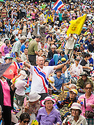 24 NOVEMBER 2012 - BANGKOK, THAILAND:  The crowd at a large anti government, pro-monarchy, protest  on November 24, 2012 in Bangkok, Thailand. The Siam Pitak group, which sponsored the protest, cited alleged government corruption and anti-monarchist elements within the ruling party as grounds for the protest. Police used tear gas and baton charges againt protesters.       PHOTO BY JACK KURTZ