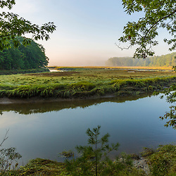 The York River winds its way through forest and salt marsh in York, Maine.