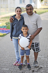 23.08.2015, Landesaufnahmestelle Oderring, Lebach-Saar, GER, Flüchtlingskriese, Landesaufnahmestelle fuer das Saarland, Grillfest fuer die Bewohner und Aufnahme des Sportbetriebes fuer Kinder durch den Landessportverband Saarland, im Bild // during a visit to the refugee reception center Saarland, barbeque for the residents and admission for sports activities for children through the National Sports Federation Saarland. Lebach-Saar, Germany on 2015/08/23. EXPA Pictures © 2015, PhotoCredit: EXPA/ Eibner-Pressefoto/ Franz<br /> <br /> *****ATTENTION - OUT of GER*****