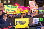 Demonstrators gather outside Downing Street on Monday the 30th of January to protest against the recent announcement by American President Donald Trump to ban people from seven Muslim-majority countries from entering the US. Downing Street, London. 30th January 2017