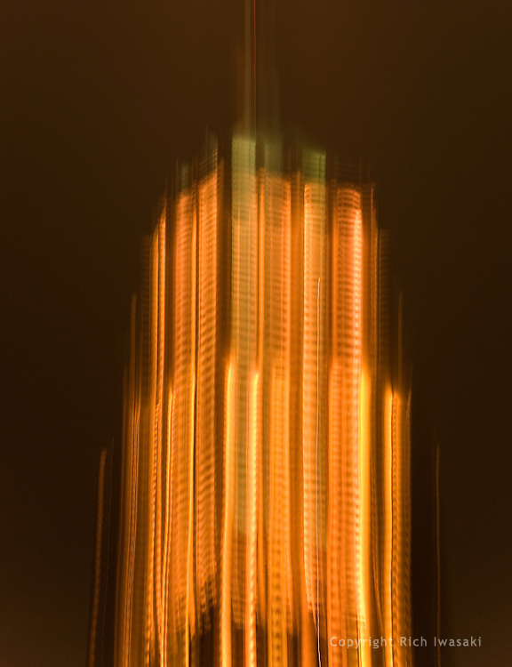 Time exposure and blurred motion view of Tower Life building (Smith-Young Tower) at night, San Antonio, Texas; the building is listed in the National Register of Historic Places 1991