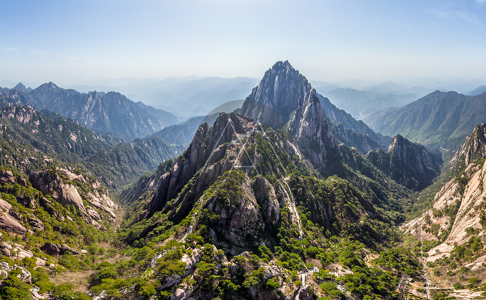 Aerial view of Huangshan mountains, China
