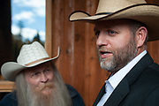Ammon Bundy, anti-government militia leader, speaking to the media when he was the featured speaker at the New Code of the West Conference held at the Grouse Mountain Lodge in Whitefish, Montana, Saturday, October 13, 2018.