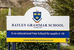 © Licensed to London News Pictures. 29/03/2021. Batley UK. Batley Grammar School in Batley, Yorkshire, this morning. The school saw protests last week after a teacher showed students a caricature of the Prophet Mohamed. Photo credit: Andrew McCaren/LNP