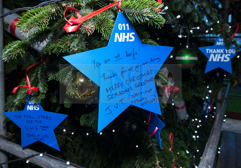 """© Licensed to London News Pictures; 17/11/2020; Bristol, UK. A star signed by the Deputy Chief Medical Officer for England JONATHAN VAN-TAM is placed on a giant Christmas tree for the """"Florence NHS Christmas Tree"""" Thank You NHS Stars Fundraiser, with blue stars signed by among others the UK Prime Minister Boris Johnson, Health Secretary Matt Hancock and Deputy Chief Medical Officer Jonathan Van-Tam. For the 10th year Clifton Village in Bristol has a 50ft illuminated Christmas tree, the tallest in any UK village. Photo credit: Simon Chapman/LNP."""