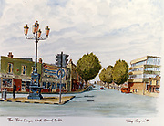 Randon Images of postcard drawings from Ireland, FIVE LAMPS North Strand dublinb, Old amateur photos of Dublin streets churches, cars, lanes, roads, shops schools, hospitals