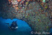 dive guide Vic Rojas enters undersea tunnel or cavern running through Gato Island, off Malapascua, Cebu, Philippines  ( Visayan Sea, Western Pacific Ocean )