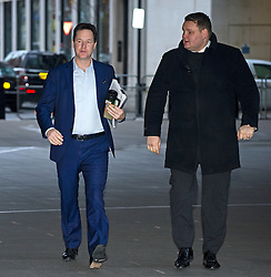 © Licensed to London News Pictures. 17/01/2016. London, UK. Former leader of the Liberal Democrats NICK CLEGG (left) arriving at BBC Broadcasting House to appear on The Andrew Marr Show on BBC One. Photo credit: Ben Cawthra/LNP